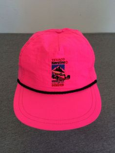80's NEON Snap Back Hat UNWORN Vintage DENVER Texaco CAR AUTO RACING USA NWOT #BaseballCap