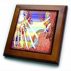 """Abstract Grunge - 8x8 Framed Tile by Susan Brown Designs. $22.99. Inset high gloss 6"""" x 6"""" ceramic tile.. Cherry Finish. Keyhole in the back of frame allows for easy hanging.. Dimensions: 8"""" H x 8"""" W x 1/2"""" D. Solid wood frame. Abstract Grunge Framed Tile is 8"""" x 8"""" with a 6"""" x 6"""" high gloss inset ceramic tile, surrounded by a solid wood frame with predrilled keyhole for easy wall mounting."""