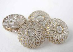 Vintage Glass Flower Buttons. Gold on Crystal
