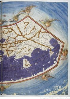 "Stroll through a beautiful atlas illuminated, representing the world known to in the second century: the "" ""Claude Ptolemy, of the Alexandria School, copy of the XVth S digitized by"