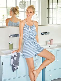 The relaxed romper with straps that evenly gather the front and back neckline is great for evening pajamas as well as a lazy day option paired with a cozy cardigan on the sofa. Lingerie Couture, Sewing Lingerie, Diy Clothing, Sewing Clothes, Designer Clothing, Diy Romper, Style Magazin, Burda Sewing Patterns, Gowns