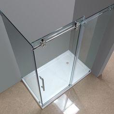 Pés/pés Retângulo 90 degre Bypass Sem Moldura de vidro deslizante porta do chuveiro rolo duplo chuveiro porta do celeiro hardware painel de retorno kit