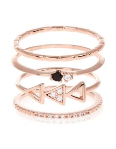 Exclusively designed by Zara Simon as part of the Z for Accessorize range. These rose gold-plated geo stacking rings are embellished with small-cut cubic zirconia stones, creating a flash of sparkle. Style together or wear them on different fingers.