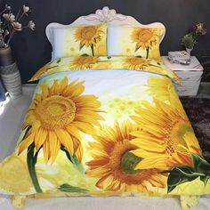 I LOVE sunflowers! I found the most beautiful sunflower bedding sets being sold!