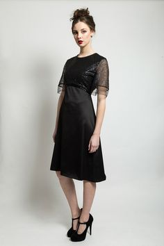 BLACK SEQUIN DRESS  495.00 Sequin sleeved dress  3/4 length skirt  Material: Sateen Black Sequin Dress, Black Sequins, Aw 2014, Sleeved Dress, 21st Century, Cold Shoulder Dress, Dresses With Sleeves, Fashion Outfits, Couture