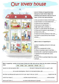 Our lovely house - English ESL Worksheets English Teaching Materials, Teaching English Grammar, English Vocabulary, English Primary School, English Classroom, English Exercises, English Lessons For Kids, English Reading, English Activities