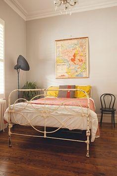 Bedroom Ideas Vintage c 1920 antique cast iron gold painted full bed frame | full bed