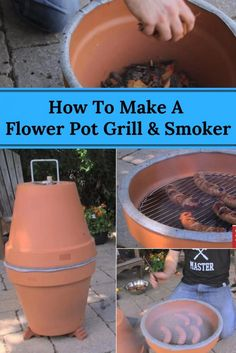 How To Make A Flower Pot Grill & Smoker - People always look for unique ways to cook their food to provide better flavor or convenience; especially when barbecuing. Magnify your barbecuing experience with a flower pot grill and smoker! Diy Smoker, Homemade Smoker, Homemade Heater, Diy Grill, Clean Grill, Infrared Grills, Built In Grill, Clay Pot Crafts, Charcoal Grill