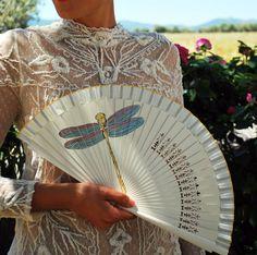 Items similar to Dragon Fly Hand Fan. Wooden handfan / cotton handfan / spanish handfan / handmade fan on Etsy Hand Held Fan, Hand Fan, Wedding Fans, Wedding Bride, Painted Fan, Hand Painted, Vintage Fans, Hippie Style, Maid Of Honor