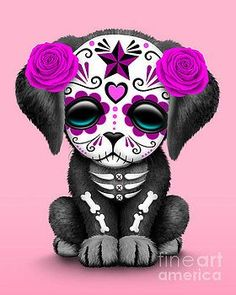 Cute Pink Day Of The Dead Sugar Skull Dog by Jeff Bartels Jeff Bartels - Mignon jour rose du chien c Sugar Skull Artwork, Sugar Skull Drawings, Sugar Skull Wallpaper, Sugar Skull Painting, Los Muertos Tattoo, Dog Throw, Throw Blankets, Day Of The Dead Skull, Day Of The Dead Drawing