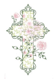 Cross made out of flowers. Can you imagine this as a tattoo ...