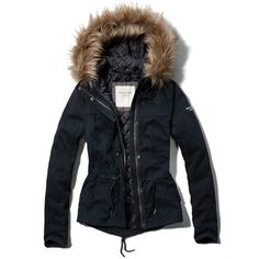 Abercrombie & Fitch Molly Twill Jacket ($126) ❤ liked on Polyvore featuring outerwear, jackets, navy, zip jacket, navy jacket, zipper jacket, logo jackets and twill jacket