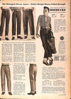 Sears Catalogs are REALLY big, so I've picked some of neatest pages for your enjoyment. This is the Spring/Summer 1958 edition. 60s Men's Fashion, 1950s Fashion Menswear, Denim Fashion, Vintage Fashion, Vintage Style, Fashion History, Victorian Fashion, Vintage Jeans, Vintage Hair