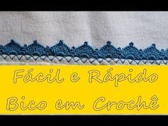 Diy 04- Como Fazer Bico em Crochê Fácil e Rápido/Fralda, Manta, Toalha e... Blouse Neck Designs, Crochet Videos, Irish Crochet, Embroidery Designs, Rugs, Google, Hipster Baby Boys, Crochet Borders, Tunisian Crochet