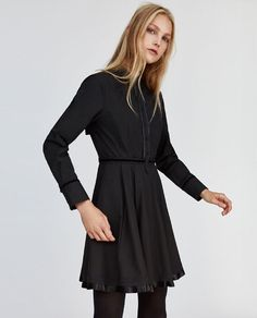 Image 2 of POPLIN DRESS WITH PLEATED DETAIL from Zara Musta 079f304a2c