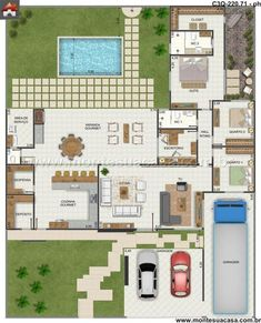 In general, modern house is designed to be energy and environmental friendly. The design often uses sustainable and recycled 3d House Plans, House Blueprints, Dream House Plans, Modern House Plans, Small House Plans, Layouts Casa, House Layouts, Home Design Plans, Plan Design