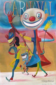 carnaval (carnival), acrylic on canvas, 100 x 65 cm. , pinturas de Diego Manuel, Painting Carnival Artwork - Fine Art by Diego Manuel