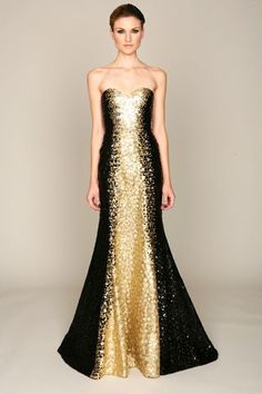 4698f2023911a Black and gold Monique Lhuillier, Strapless Dress Formal, Prom Dresses,  Formal Dresses,