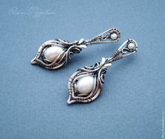 Купить Серьги из серебра с жемчугом - белый, жемчуг, жемчуг натуральный, серебряный, серебро 925 пробы