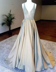 Upd0143, V-Neck, Beading, Satin, Long Prom Dress,Evening Dress,Prom Dresses, A-line prom dresses, silver grey prom dress