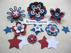 Americana Patriotic Paper Embellishments by mydivineinspiration, $4.99  <3