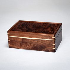 Wood Mens Box, Keepsake Box, Treasure Box Walnut with Walnut Burl Lid. The Keeper 0614-013-003 by MountainViewWood on Etsy https://www.etsy.com/listing/194642907/wood-mens-box-keepsake-box-treasure-box
