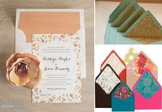 pretty envelope liners for the wedding invitations