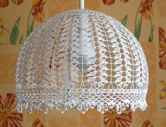 Pendant Light Hanging Lamp Crochet Chandelier Bedroom Lighting Kitchen Crochet L… - All For House İdeas Lampe Crochet, Crochet Lampshade, Candle Chandelier, Chandelier Bedroom, Bedroom Lighting, Doily Lamp, Crafts To Make, Diy Crafts, Crochet Decoration