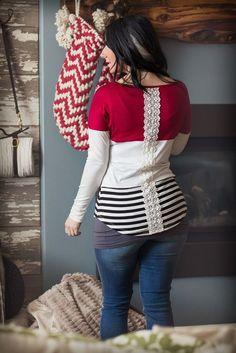 Crochet Back Detail Tunic - Cranberry