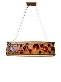 Varaluz Fascination 4-Light Linear Pendant, Amber Bottle Glass at MYHABIT