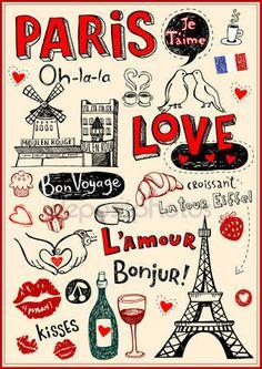 Скачать - Париж, открытка — стоковая иллюстрация #32827089