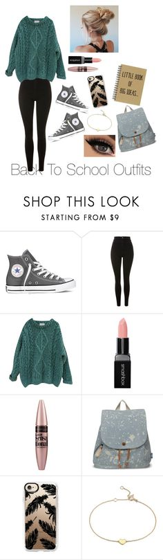 """""""Back To School Outfits #48"""" by gussied-up ❤ liked on Polyvore featuring Converse, Topshop, Essentiel, Smashbox, Maybelline, TOMS, Casetify and Blue Nile"""