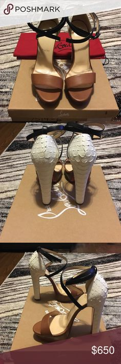 Christian Louboutin platform sandals Tricolor platform Sandel heels, Python white heel, blk ankle strap, 140mm. Great condition, worn only once, with the original box and dust bag. Shoes Heels