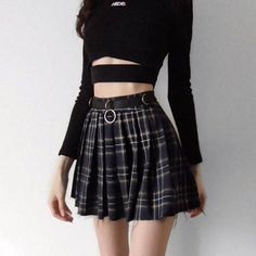 Current Mood Dress Code Plaid Skirt cuz play by your own rules babe! This sikk lil pleated mini skirt has a belted waist with o-ring accents, a sassy frayed hem N' a exposed zip closure. Edgy Outfits, Grunge Outfits, Girl Outfits, Fashion Outfits, Womens Fashion, Fashion Trends, Punk Fashion, Gothic Outfits, Dress Fashion