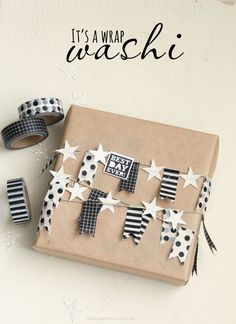 freckled fawn….Wrap a long washi tape bunting multiple times around a package. Inspiration only - link is dead.