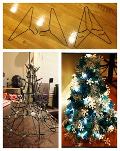 Christmas tree decoration made from hangers, duct tape, garland and lights. Looks store bought. Hanger Christmas Tree, Christmas Tree Crafts, Christmas Tree Decorations, Holiday Crafts, Xmas, Christmas Hacks, Homemade Christmas, Wire Crafts, Diy And Crafts