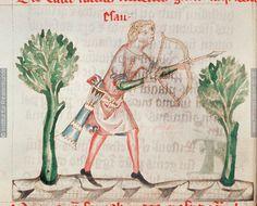 Concordantiae caritatis (Stiftsbibliothek Lilienfeld 151); Esau hunting, wearing a quiver on his belt (fol. 184v) (http://larsdatter.com/archers.htm)