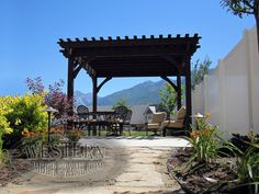 Free standing pergola with Rich Cordoba stain and Champion profile.