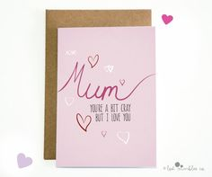 Joke Mothers Day Card  Mum Card  For Mom  For Mum by Lost Marbles Co