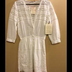 "NWT BOSTON PROPER WHITE DRESS XS New Crochet Blouson dress ..3/4 sleeve..button front..measures 39"" bust..19"" sleeve..38"" length..lower half of dress is  lined 100% cotton Boston Proper Dresses"