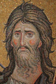 John, The Baptizer Mosaic Flowers, Mary And Jesus, Byzantine Art, Roman Art, Religious Images, John The Baptist, High Art, Orthodox Icons, Angel Art
