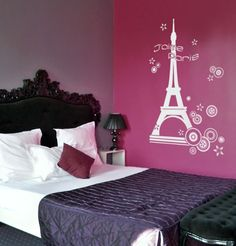 Love the wall for a Paris themed bedroom for a teenage girl.