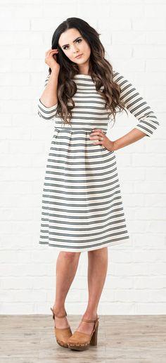 Adele Dress (Gray Stripe)