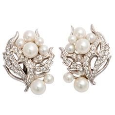 SEAMAN SCHEPPS Pearl, Diamond and White Gold Earrings, 1970's