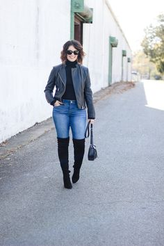 chic winter 2018 outfit, happy 2018!, how to style a leather jacket, high waist jeans that are flattering, flattering denim, OTK boots outfit, how to style OTK boots