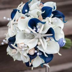 """""""Nautical Navy Blue"""" wedding bouquet with white and navy Real Touch calla lilies, crystals, pearls, seashells and starfish,  beach wedding, calla lily bouquet, nautical wedding, beautiful bouquet, handmade, wedding flowers, white and navy blue, destination wedding, wedding inspiration, wedding tips, artificial flowers, international wedding, real touch, alternative bouquet"""