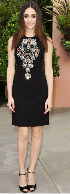 Who made Emmy Rossum's black beaded dress? Dress – Naeem Khan