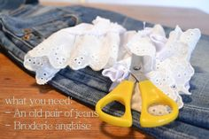 DIY Clothes Refashion: DIY Shorts with broderie anglaise
