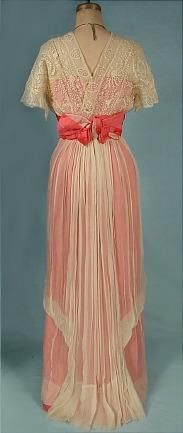 c. 1912 Hot Salmon Satin and Off-White Crepe Chiffon and Lace Evening Gown teens 10s 20s downton edwardian