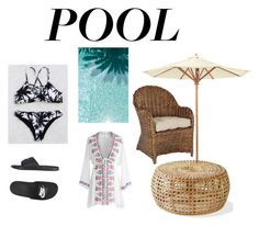 """""""pool"""" by eporima on Polyvore featuring interior, interiors, interior design, home, home decor, interior decorating, Ballard Designs, NIKE and Chicwish"""